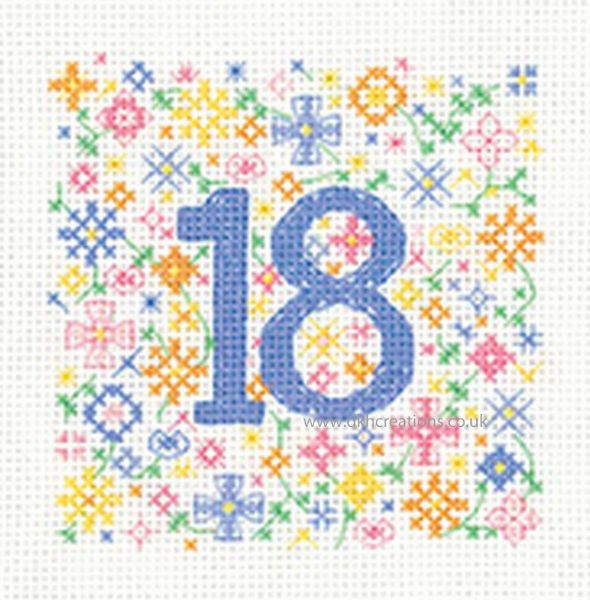 Sue Ryder Occasions 18th Birthday Greeting Card Cross Stitch Kit